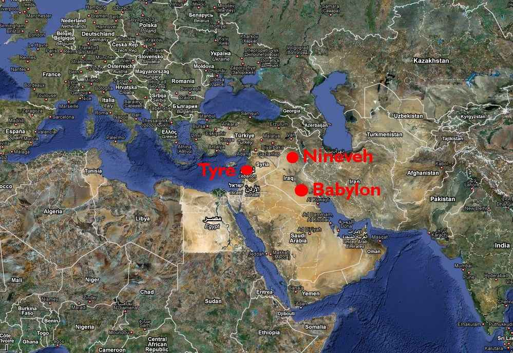 Map of Tyre, Nineveh & Babylon