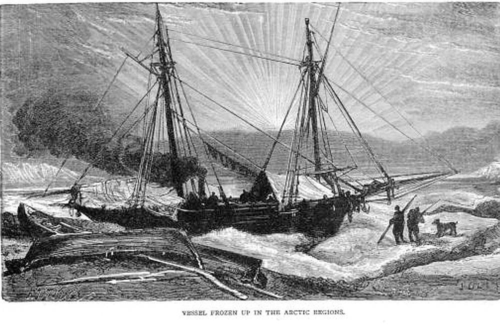 Martin Frobisher's ship stuck in ice
