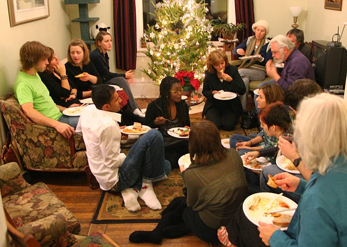 A bit of a squeeze for seating - Newlife Church Christmas meal, 2009