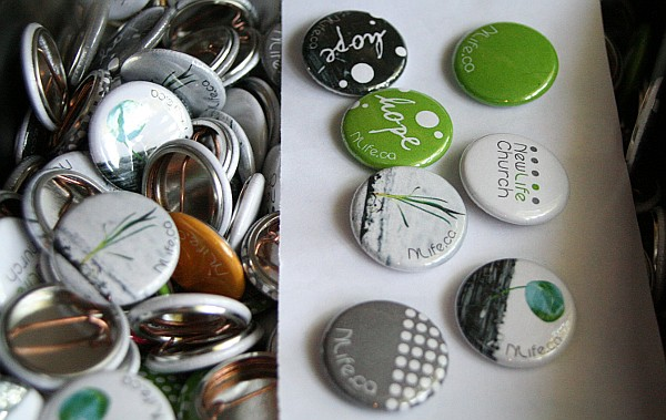 The finished buttons - Newlife Church Toronto at the Cabbagetown Festival