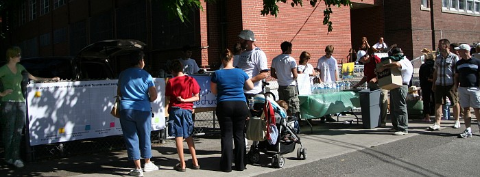 Attracting passers-by at the Festival, outside St. Martin's - Newlife Church Toronto at the Cabbagetown Festival