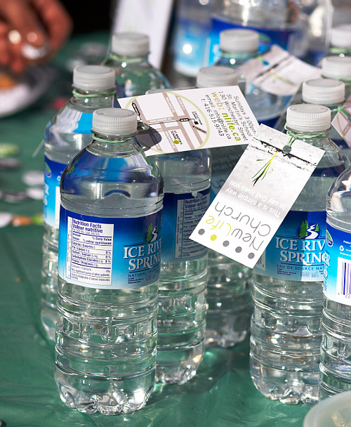Some of the 240 water bottles given away - Newlife Church Toronto at the Cabbagetown Festival