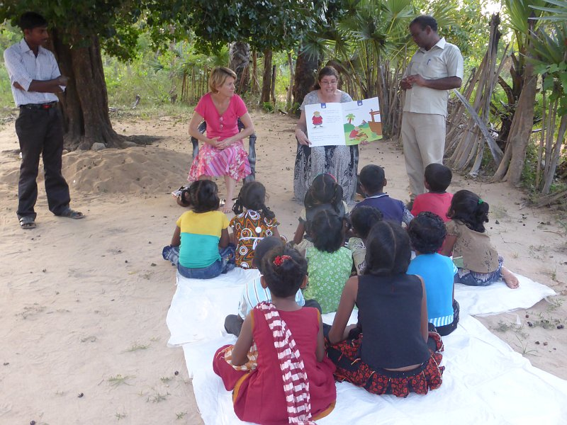 Anne and Ruth teaching the children (with a translator).
