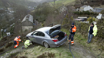 driver on cliff edge