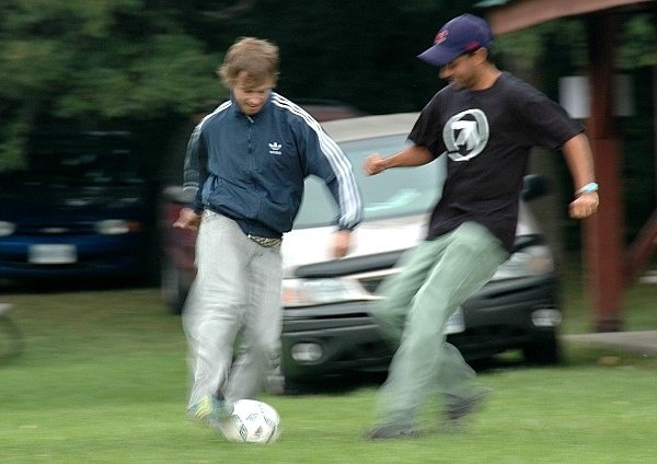 Luke and Paul playing soccer - Newlife Church Toronto day out to the Niagara Escarpment