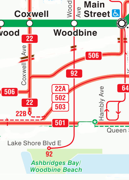 TTC directions to Woodbine Beach